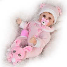 KEIUMI 17 inch Reborn Baby Girl Dolls Soft Silicone Vinyl DIY Toys Realistic Princess Dolls Reborn For kids Birthday Gifts