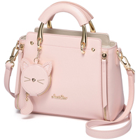 JHD Just Star Leather Handbag Ladies Embroidered Cat Handbag Purse Ladies Tassel Stitching Casual Messenger Bag
