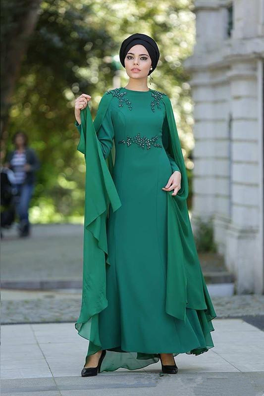 Green Muslim Evening Dresses 2018 A Line Long Sleeves Chiffon Beaded