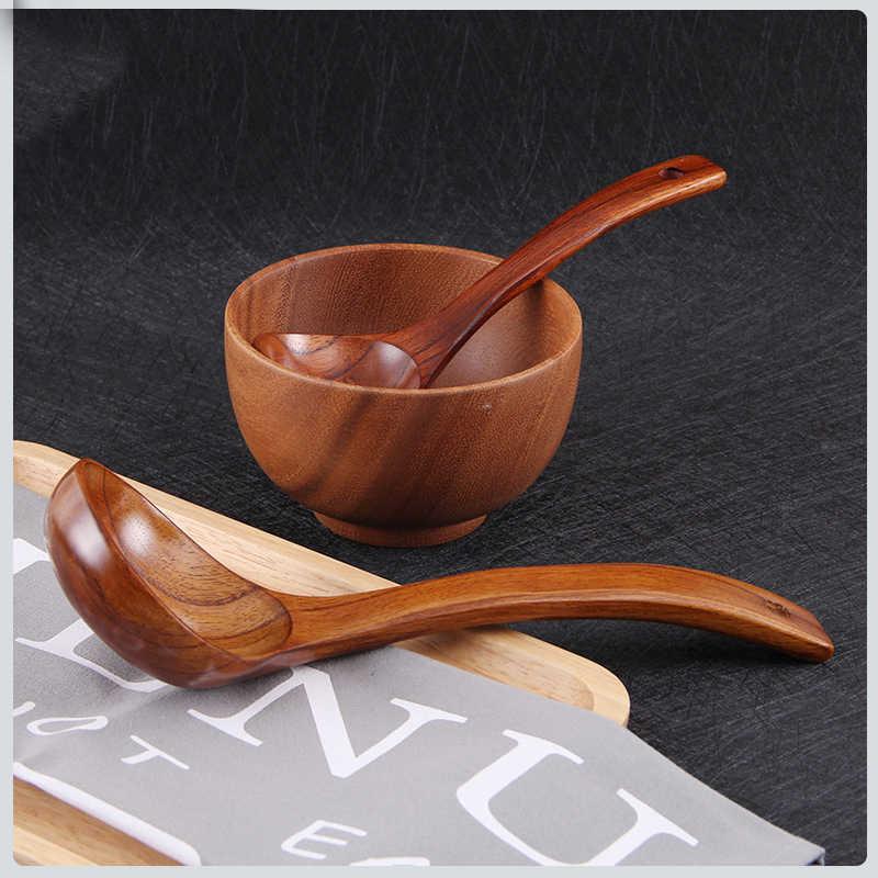 Balleenshiny colher de sopa de madeira curvo lidar com acessório de cozinha eco-friendly grande colher mingau comida utensílios de mesa do hotel casa fornecimento