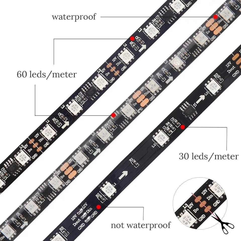 DC12V WS2811 5050 SMD RGB светодиодные ленты адресуемый 30/60 светодиодов/m Led Пиксели внешний 1 ic control 3 светодиода 5 м/рулон на открытом воздухе полоска для автомобильной двери