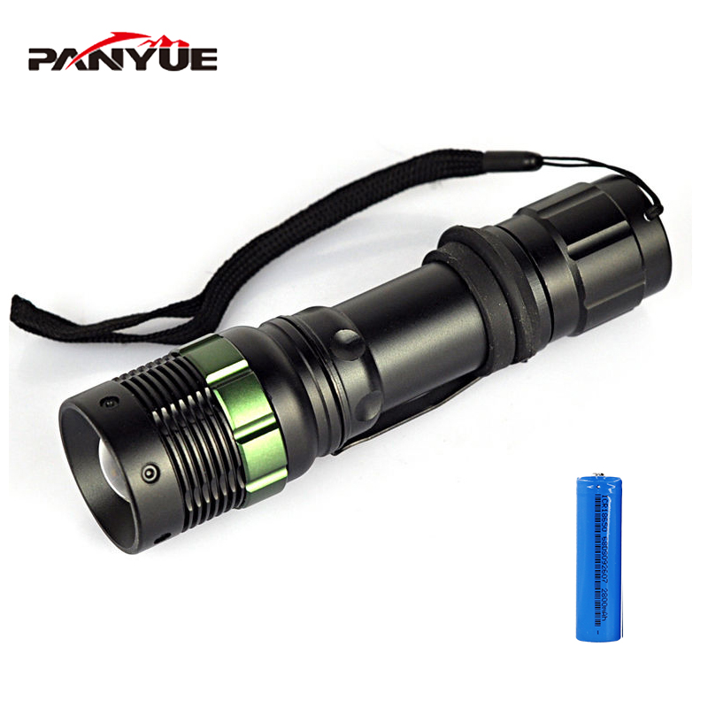 PANYUE Q5 1000LM 3 Mode High power White Light Flashlight Zoom Rechargeable LED Light led flashlight Torch with 18650 battery in LED Flashlights from Lights Lighting