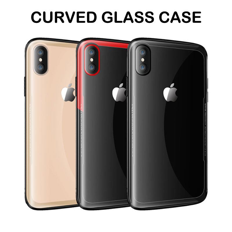 Curved Glass Phone Case For iPhone XS Tmepered Glass Cases For iPhone XS Max XR Luxury Case