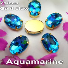 Factory direct sale 7 sizes Sew on Aquamarine oval shape Glass Crystal rhinestone beads with gold claw cup settings garments diy