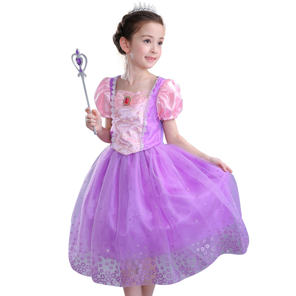 Kinder Mädchen Sommer kleider lila kleid Prinzessin Rapunzel ...