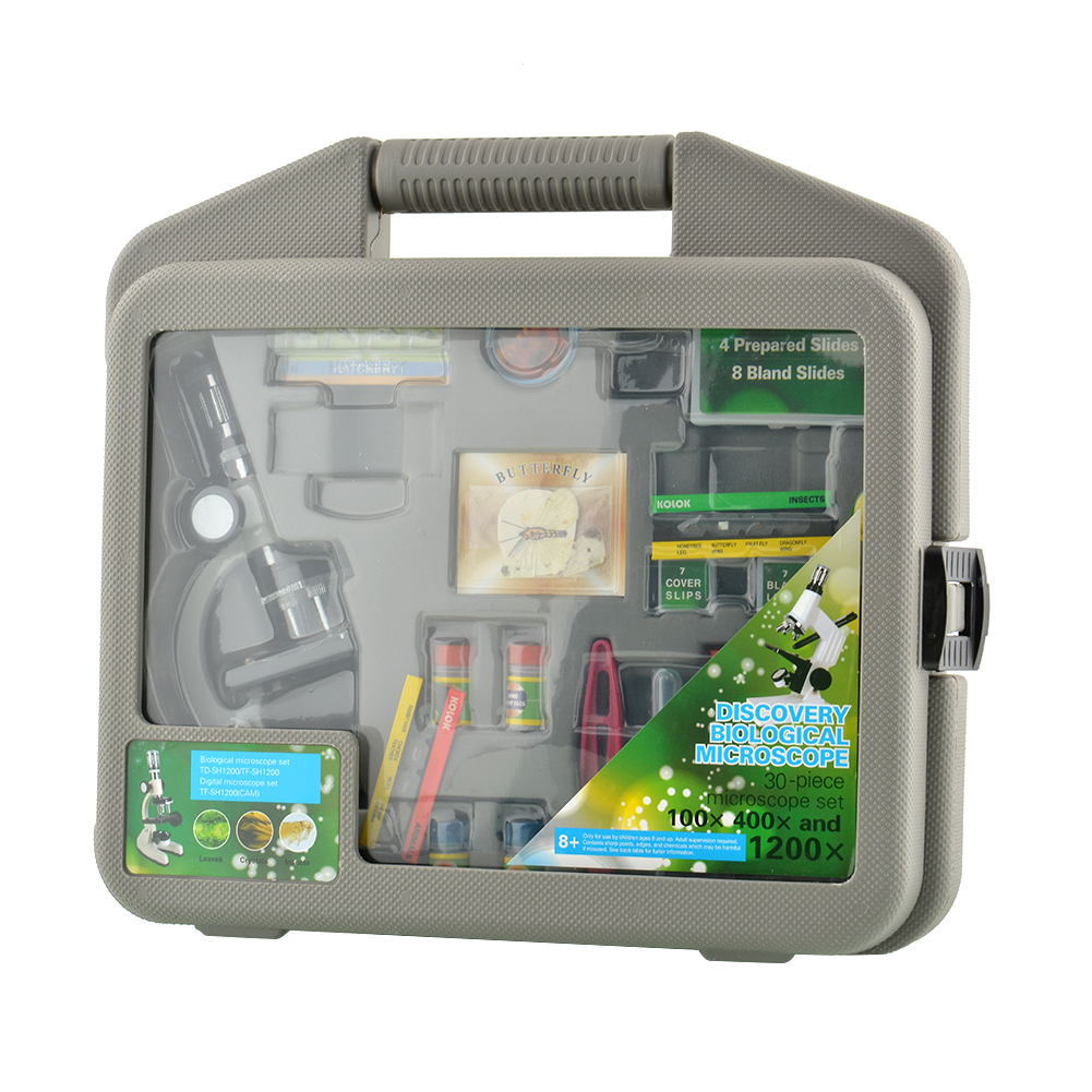 ФОТО New Durable 300X-600X-1200X Metal Body Beginner Biological Zoom Microscope Kit For Kids Students Gift