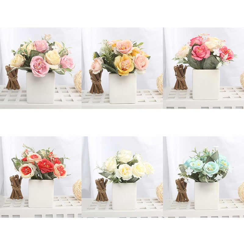 Tanaman Buatan Dekorasi Bunga Mawar Palsu Bonsai Buatan Rose Sutra Bunga Home Dekorasi Ruang Tamu 1 Set (Tanaman + vas)