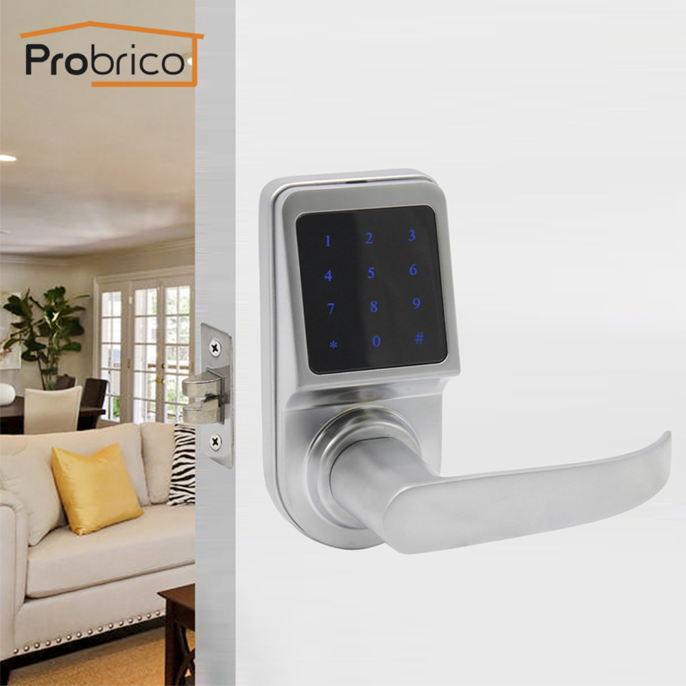 Probrico Digital Electronic Door Lock Key & TM Card & Password Zinc Alloy Lever Locks Anti-theft Intelligent Exterior Lock ...