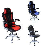 Height 118 128cm Work Office Chairs Adjustable 10cm Racing Chair Game Computer Chair PU Leather Indoor Furniture Black Red Blue