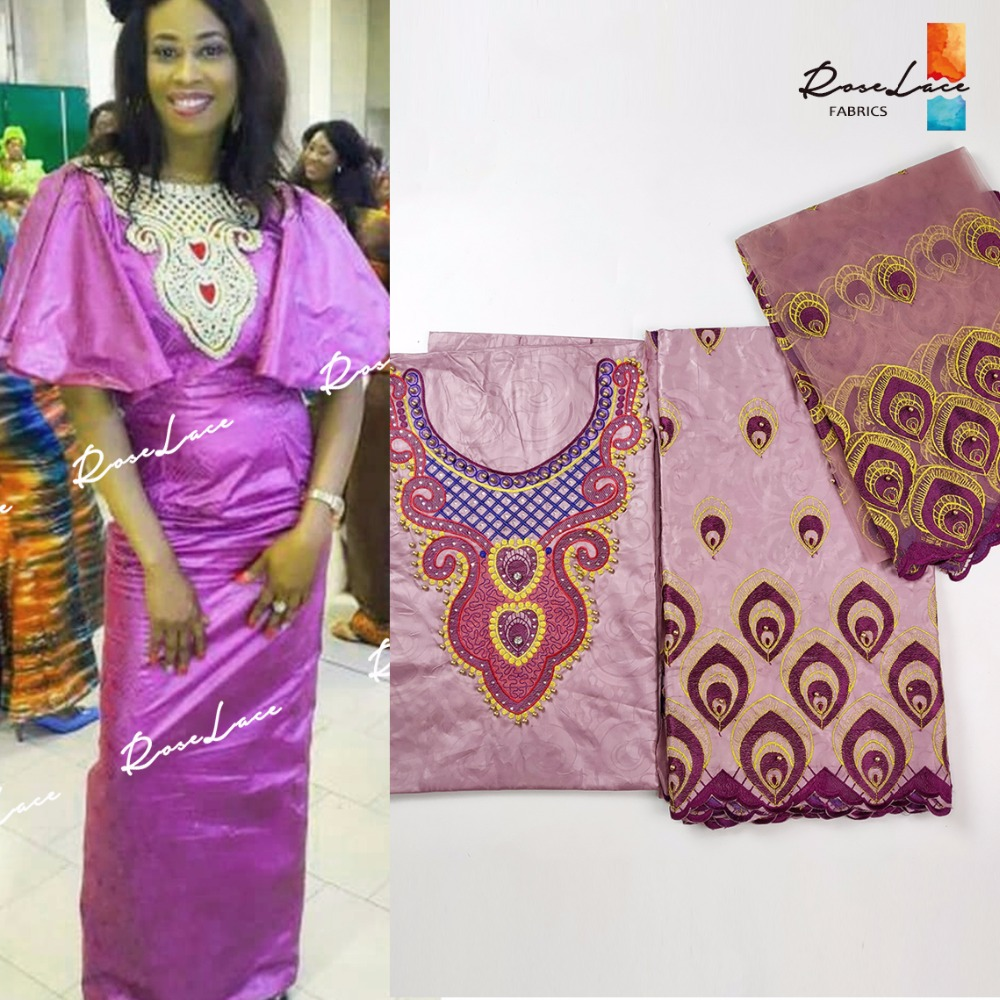Beaded Embroidered Bazin Riche With Net Blouse Collar Design African Beads And Stones Wedding Laces For