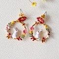 Франция Les Nereide Эмаль Серьги Стержня Для Женщин Кролика Круг Цветы Романтический Роскошный Партия Оптовая Продажа Ювелирных изделий