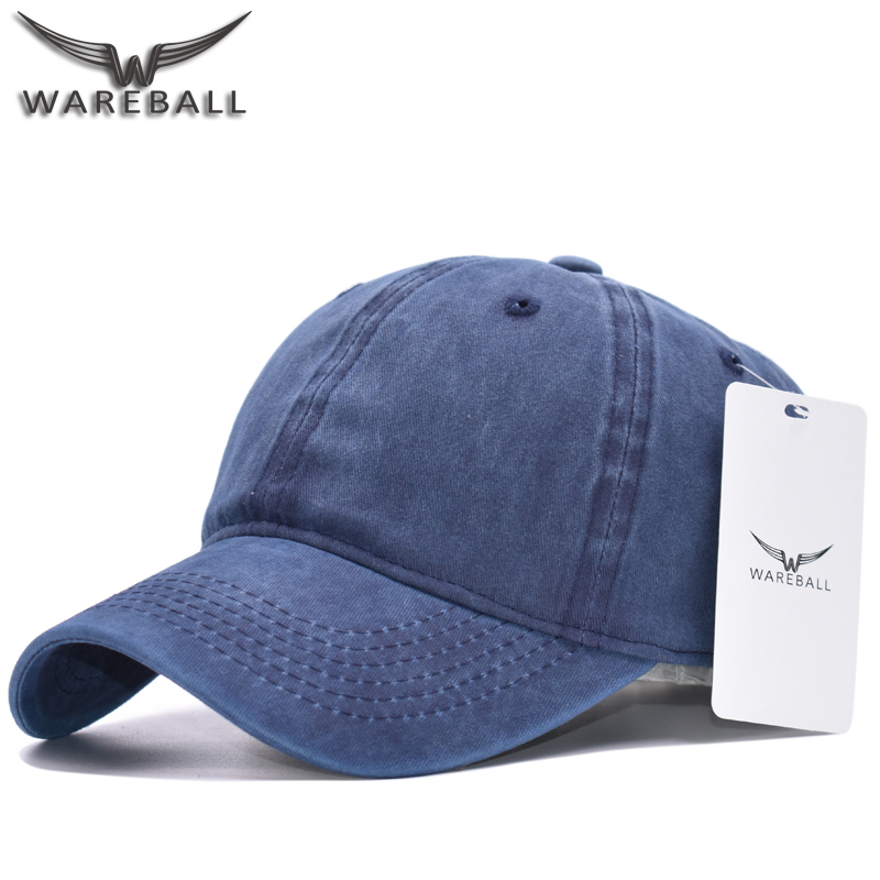 1cb8eaf9 [WAREBALL] High quality Washed Cotton Adjustable Solid color Baseball Cap  Unisex Out Caps Fashion Leisure Casual Snapback Hat