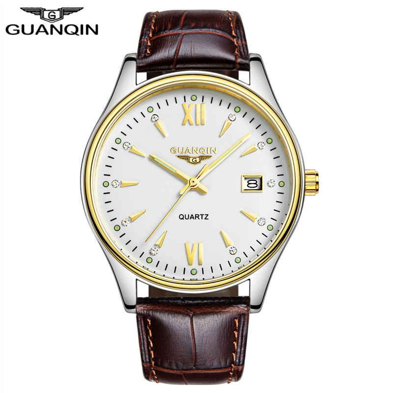 ФОТО GUANQIN Casual watches men Luxury brand quartz watch ultrathin leather Wristwatch relogio masculino male gold silver clock hours