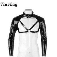 TiaoBug для мужчин s Wetlook искусственная кожа Стенд воротник шипованных мышцы Связывание половина укороченный топ Клубная одежда сценический