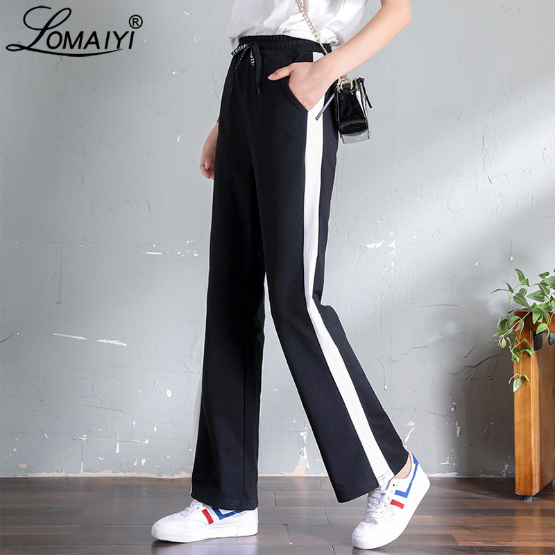 LOMAIYI Women's Wide Leg Striped Pants Spring Autumn Pure Cotton Loose Trousers Female Casual Sweatpants Palazzo Pants BW035