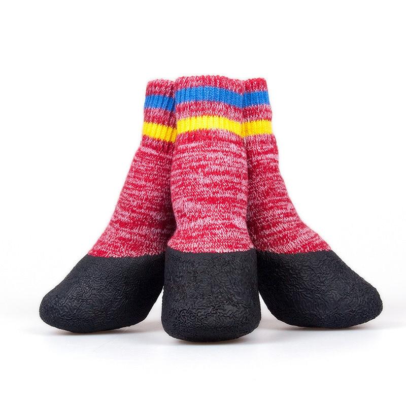Теплые носки для кошек, зимние шерстяные носки с петлями, носки для собак, Samiye Dobermanns pomeria, боди с чулками, носки для собак, зимние носки для домашних животных - Цвет: Red