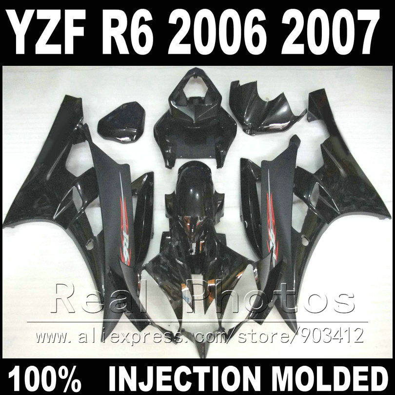 Free custom plastic parts for YAMAHA R6 fairing kit 06 07 Injection molding matte and glossy black 2006 2007 YZF R6 fairings все цены