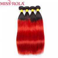 Miss Rola Hair Pre colored 4 Bundles Human Hair Ombre Product Brazilian Straight Hair 1B Red Color Non remy Hair
