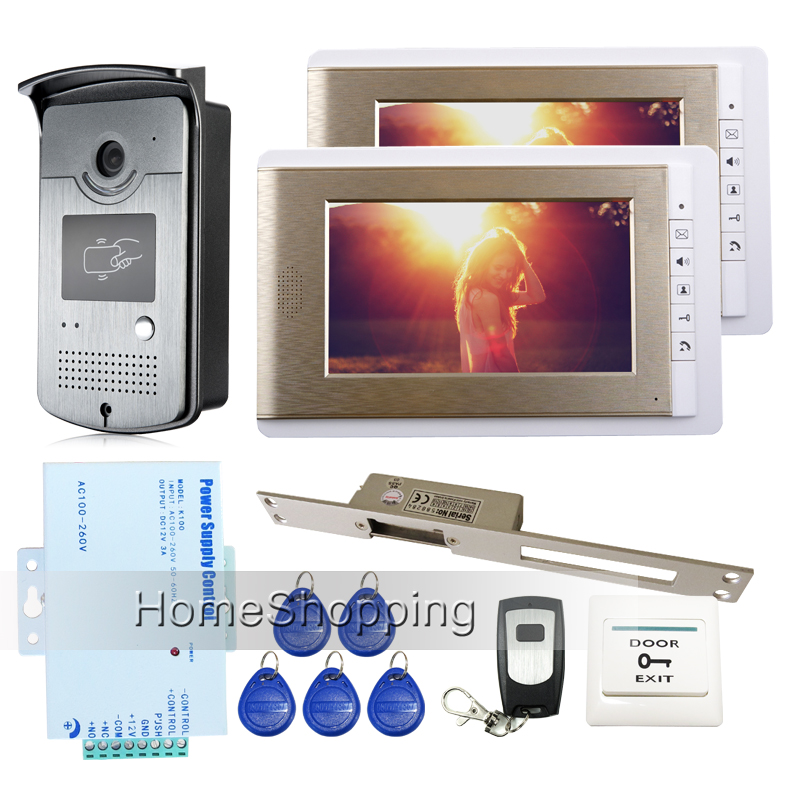 FREE SHIPPING 7 inch Color Video Door phone Intercom System + 2 Monitors + 1 RFID Camera + Long Electric Strike Lock  IN STOCK free shipping brand new home 7 inch video intercom door phone system 2 monitors rfid camera long 250mm strike lock in stock