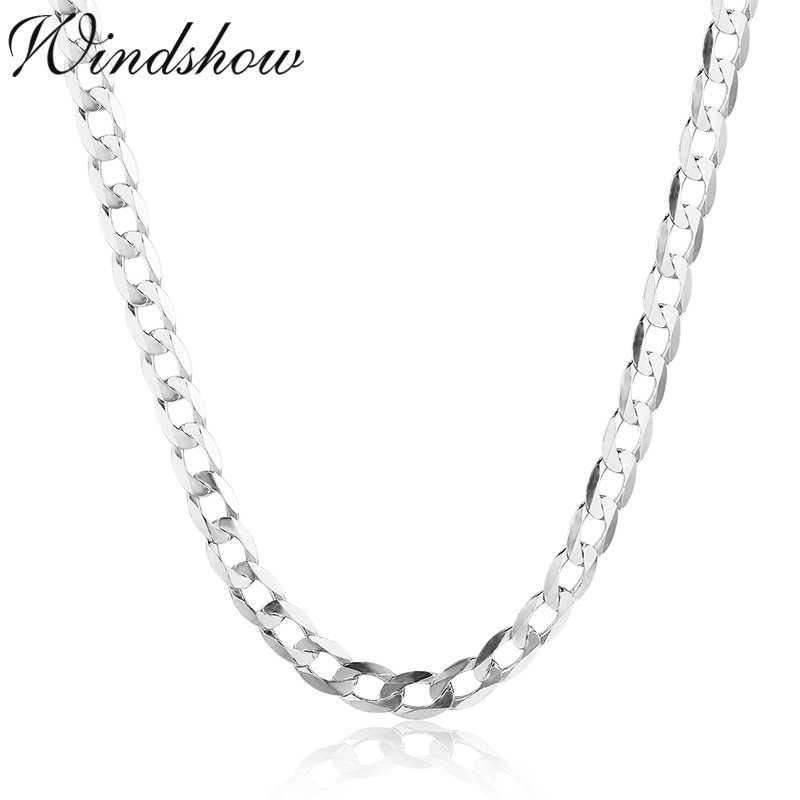 45cm-80cm Slim 925 Sterling Silver Curb Chain Link Necklaces Women Men Jewelry Collares Kolye Collier 4mm 7.5mm Ketting Collares