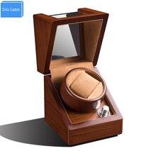 цена на Anti Magnetic Silent Motor Maintenance Watch Winder Case Rotate 1 Watch 5 Speed Knob Wood Skin Clean Acrylic Leather Velvet Box