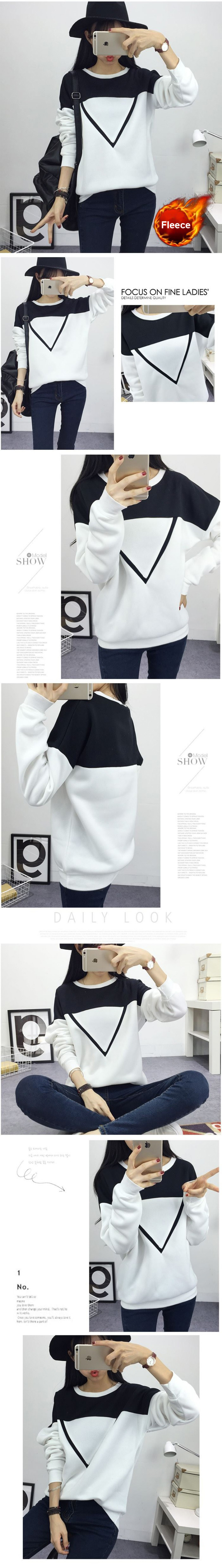 HTB1mIi8jDXYBeNkHFrdq6AiuVXam - Winter New Fashion Black and White Spell Color Patchwork Hoodies Women V Pattern Pullover Sweatshirt Female Tracksuit M-XXL