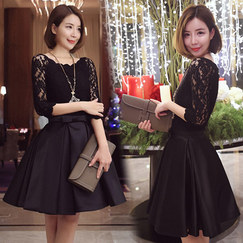 c501abdc49e71 Lace Dress Winter Autumn Women 2017 Vintage Christmas Tunic Black Red  Bubble Korean Sexy Party Evening Prom Short Winter Dresses-in Dresses from  ...