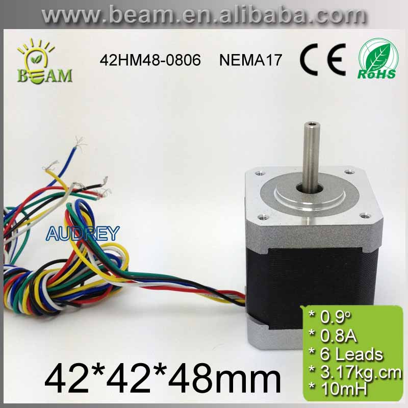 Free shipping 0.9 degree 3.17Kg.cm 0.4A 42mm with 6 Outgoing Line 2 Phase Hybrid Stepper Motor NEMA17 Bipolar Step Motor free shipping 42hs4017a4 1 8 degree 20mm 2phase hybrid stepper motor nema17 bipolar step motor single shaft 1 7a ce rohs