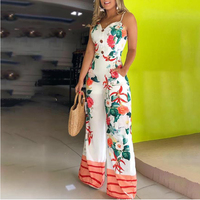 Floral Print Summer Office Jumpsuits Women Buttons Design Sexy Long Jumpsuit Rompers Wide Leg Long Pants Overalls