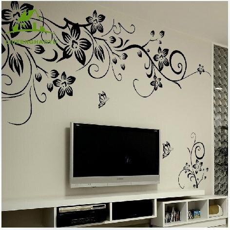 Negro vid de la flor pegatinas de vinilo de pared para niños habitaciones decora