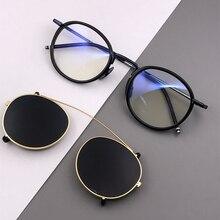 Винтаж стимпанк круглые поляризованные солнцезащитные очки Для мужчин ретро клип на солнцезащитные очки в стиле панк Для женщин Брендовая Дизайнерская обувь солнцезащитные очки UV400 Óculos
