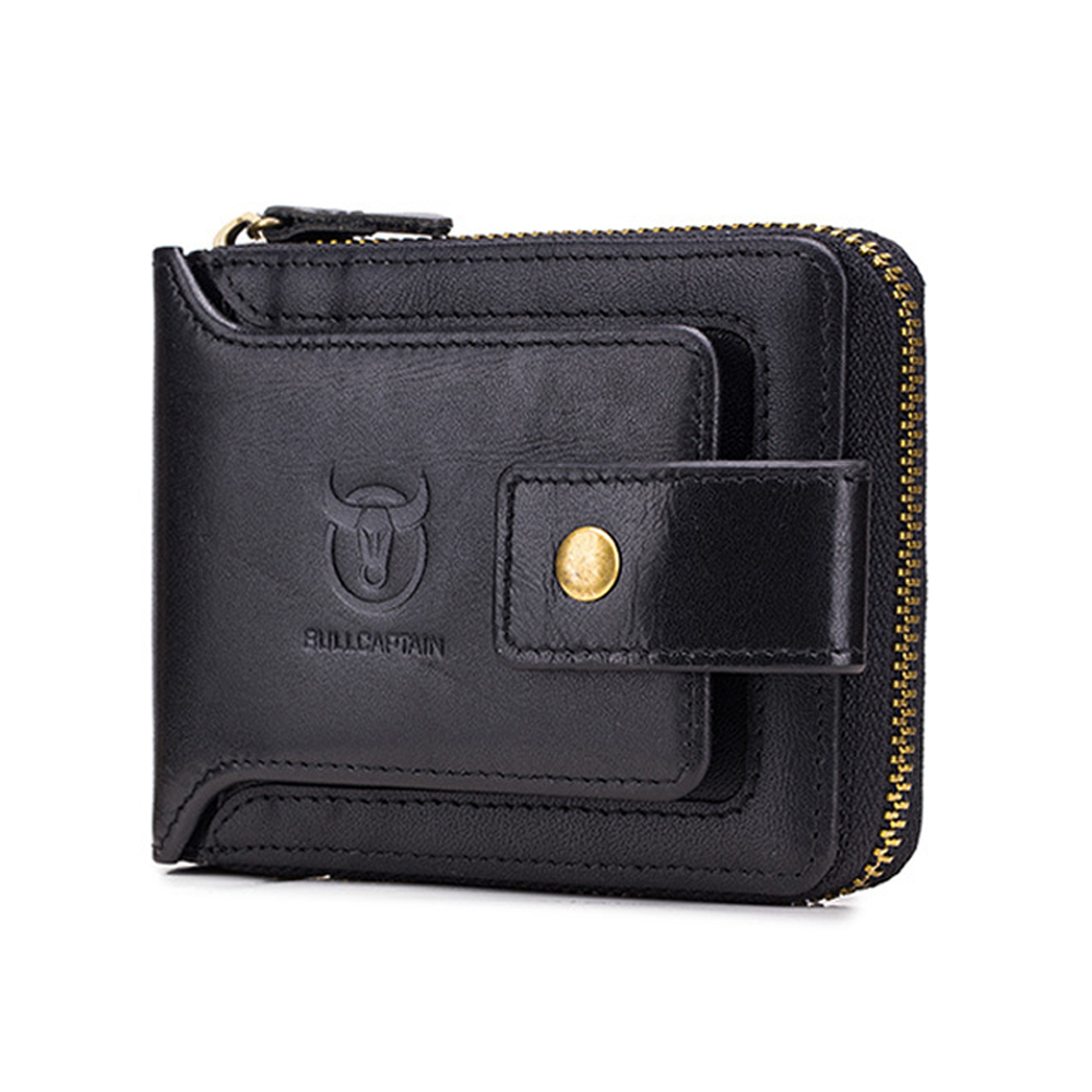 Quality Guarantee Genuine Leather Men Wallets Short Male Cow Leather Purse Men ID Card Holder Vintage Hasp Dollar Zipper Wallet