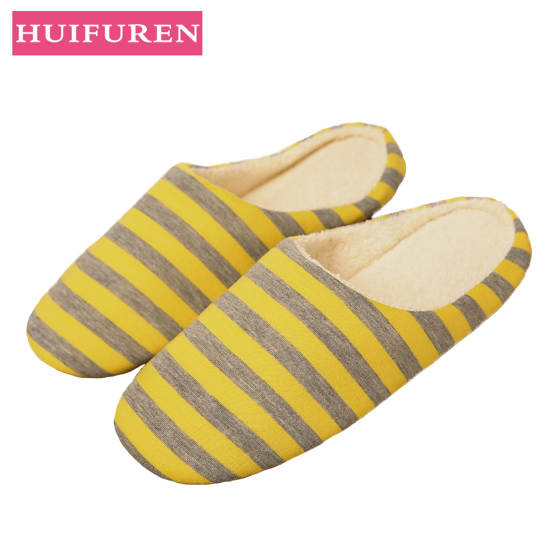 Home Slippers 2019 Winter Women Men Indoor Slipper Striped Soft Bottom Warm Cotton Shoes Woman Slip-On Slides for Bedroom House slipper