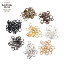 200pcs/lot 4/5mm Copper Open Jump Rings & Split Rings Gold/Black/Silver/Antique Brone Plated Connectors for Jewelry Making F309 цена и фото