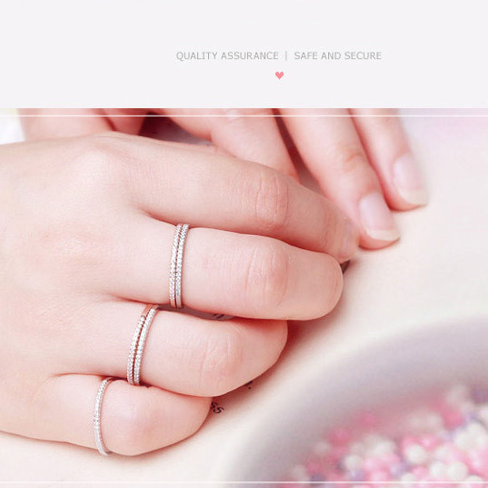 925 Sterling Silver Rings For Women Zircon Simple Round Finger Female Sevgili Wedding Jewelry Accessories Promise Rose Gold Ring in Engagement Rings from Jewelry Accessories