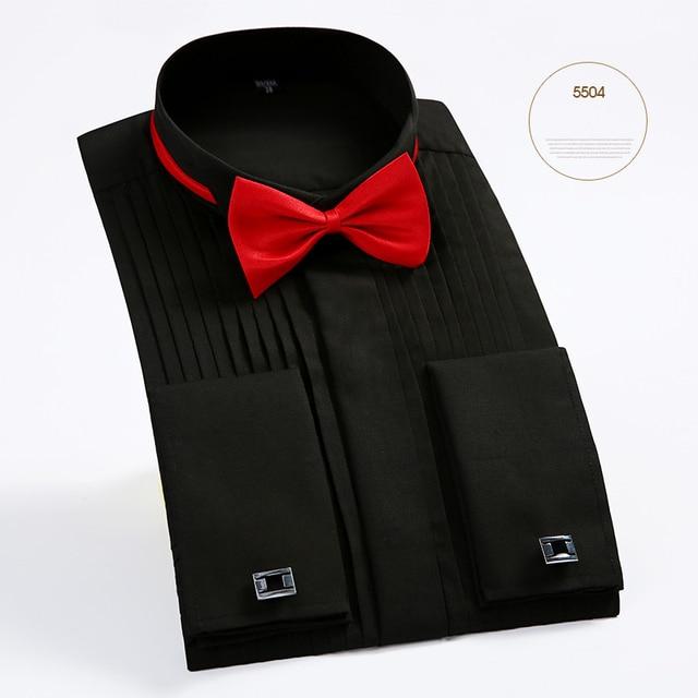 Brand New Arrival Men's French Tuxedo Shirt Men Long Sleeve Dress Shirt Mens Solid Color Turn-Down Collar Shirt Formal Male