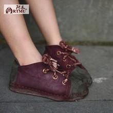 จีนรองเท้าที่ทำด้วยมือรองเท้าผู้หญิงธรรมดาโบราณส้นปกหนังNubuck Moriสาวบล็อกสีCowhideผู้หญิงรองเท้ารองเท้าที่เดิน