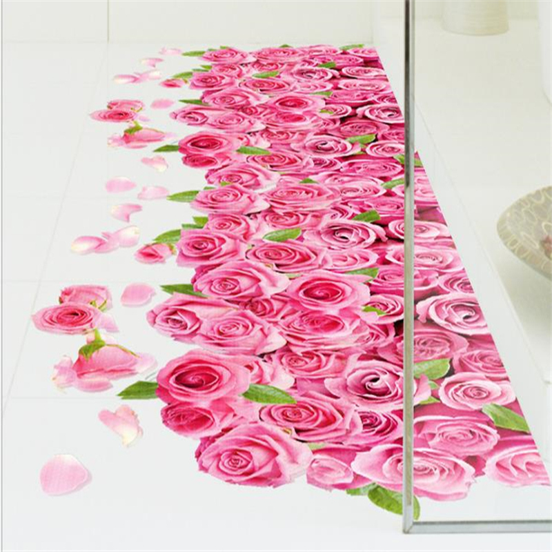 Купить с кэшбэком Modern 3D Flooring Wallpapers for Walls 3D Material Removable Vinyl Stickers for Kids Room Home Decoration Bathroom Wall Papers
