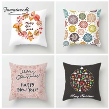 Fuwatacchi Cartoon Style Cushion Cover Christmas Happy New Year Printed Pillow Snow Santa Decorative Pillows For Sofa Car