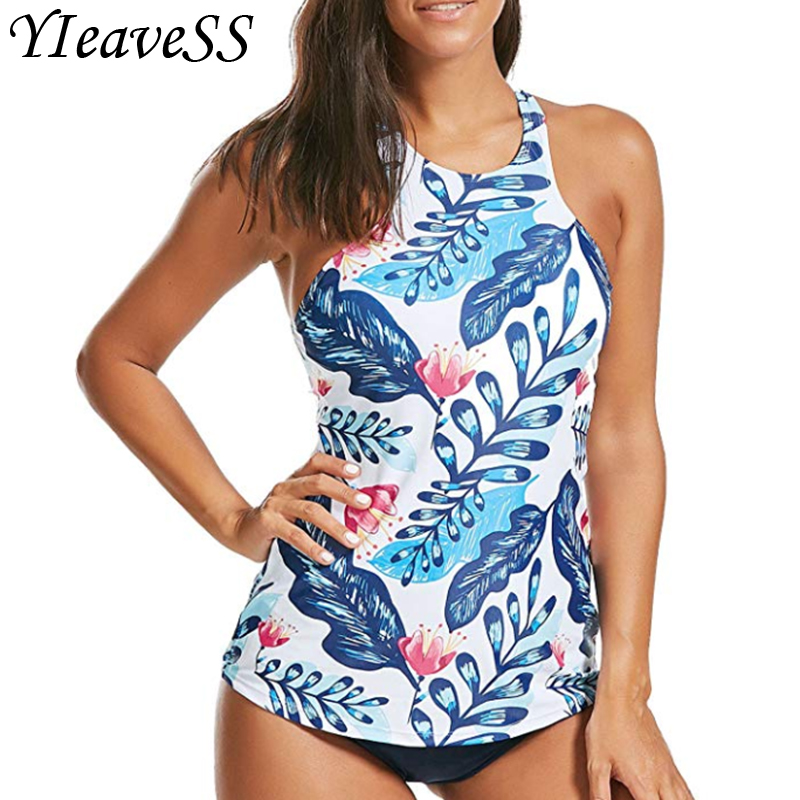 Sexy Floral Print Swimwear Women Tankini Push Up Swimsuit Two Pieces Swimwear Female Swimming Bathing Suits Plus Size S-5XL