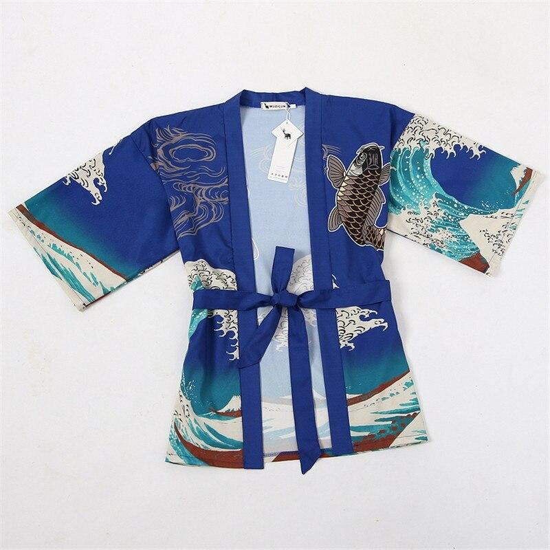 Black Shirt Tops Cardigan blue Largas Verano Waves 2018 Harajuku Camisas Kimono Impresión Kawaii Blusa Carpa Mujer Japonés Shirt 6nqgwT