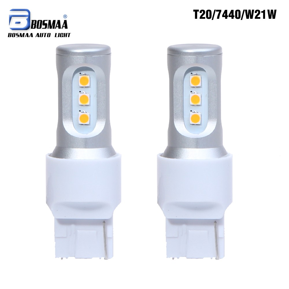 Bosmaa  T20 7440 W21W WY21W 9SMD 3030 LED Car Yellow White Turn Signal DRL Bulb Red Brake Lights Auto Reverse Lamps 12V 2x white red yellow 30w cree chips t20 7440 w21w led bulbs for auto car moto reverse lights backup drl lights bulb 12v dc