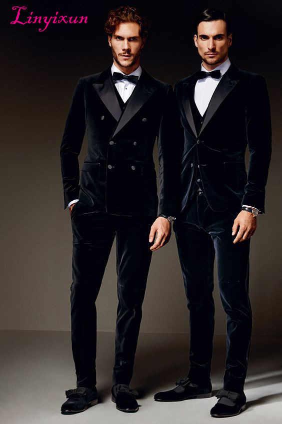 Linyixun 最新コートパンツのデザイン紺のダブルブレストベルベットメンズスーツフォーマルスリムフィット 3 ピースタキシードカスタム新郎ブレザー