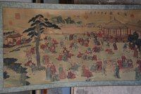 Hand painted Chinese paintings, picture the long axis of the Qing Dynasty in China,Kids games, free shipping