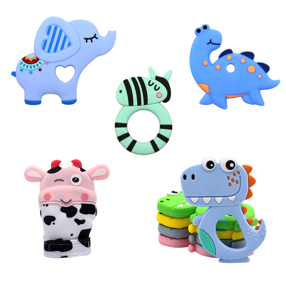 Bpa Free Silicone Teethers Safe Baby Glove Teether Toy Kids Cute Animal Dinosaur Infant DIY Ring Teether Silicone Chew Charms