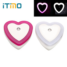 ITimo Heart Shape LED Night Light Wall Lamp Bedroom Decoration Light Sensor Cute Romantic Bedside Lamp EU Plug Nightlights