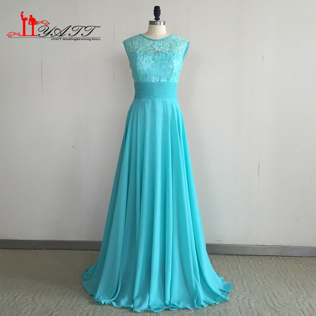 Turquoise Bridesmaid Dresses 2017 New Arrival Lace Chiffon Long Women Party For Weddings Vestido