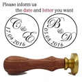 A) two letter design with wedding date custom wax seal stamp Wedding invitation card envelope gift sealing wax stamp wax seal