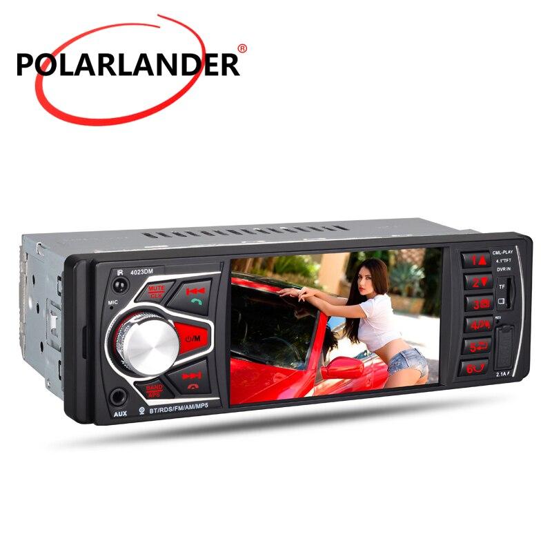 Autoradio Audio lien miroir FM TF USB SD MP5 1 DIN Autoradio lecteur cassette 4.1 pouces HD Bluetooth 4.0 lumières colorées
