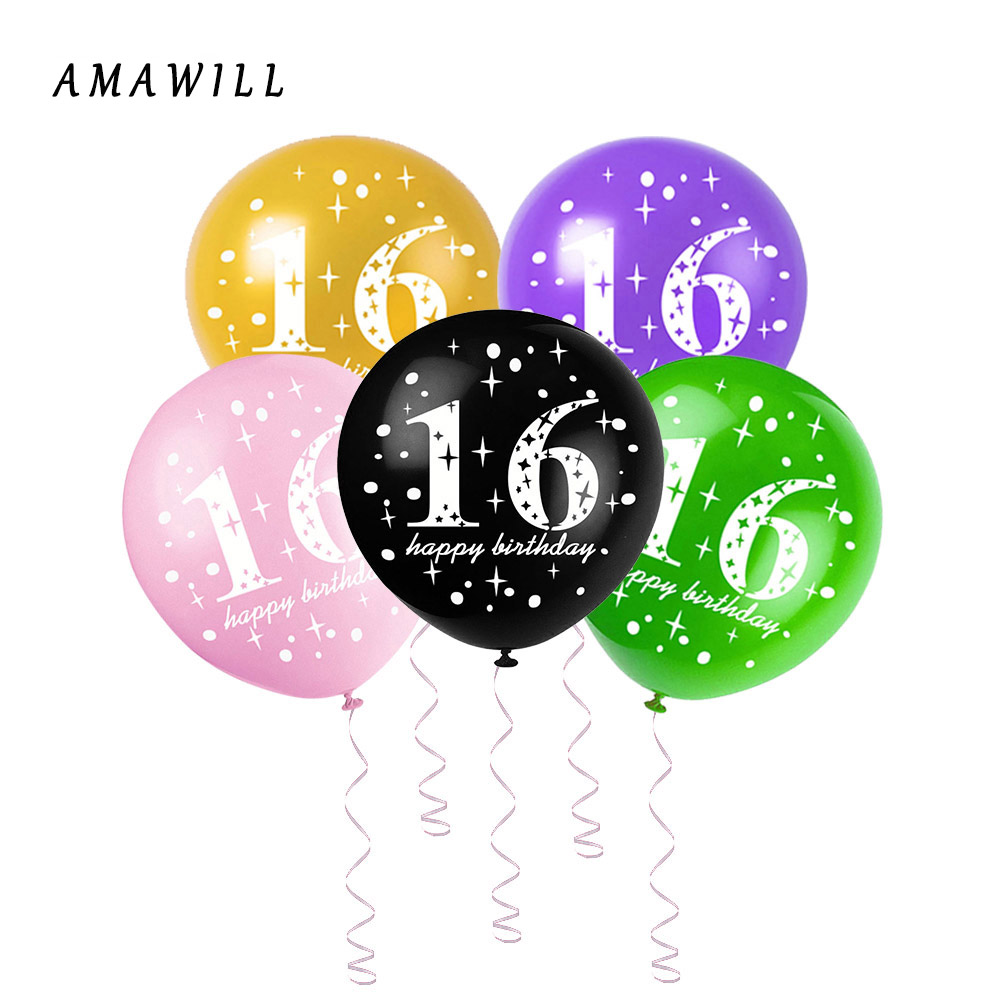 AMAWILL  10pcs Adult Pearlescent Latex Digital Balloon number 16 Thicken Birthday Party Digital Balloon Background Arrangement8D
